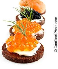 svart, bread, toppa, med, lax, forell, stör, kaviar, och,...