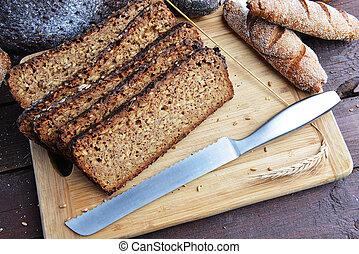 svart, breadsliced, bread