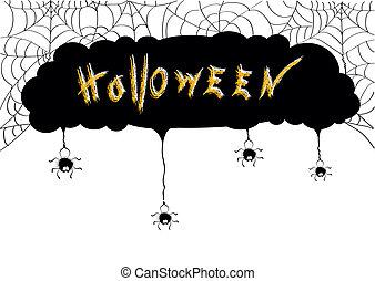 svart, card.web, halloween, spindlar, bakgrund