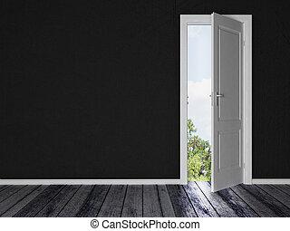svart, dörr, rum, vit