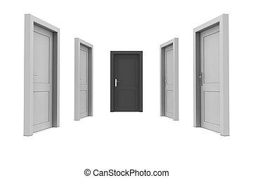 svart, dörr, välja