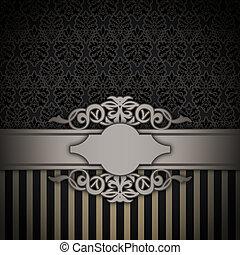 svart, dekorativ, bakgrund, border., årgång