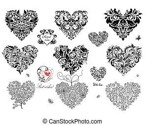 svart, dekorativ, hjärtan