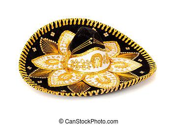 svart, dekorerat, mariachi, sombrero, vita
