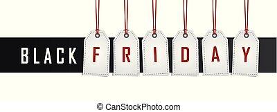 svart, etikett, hängande, befordran, fredag