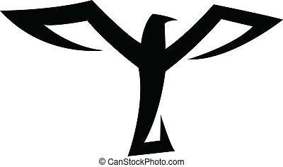 svart fågel, ikon