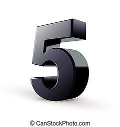 svart, fem, glatt, numrera