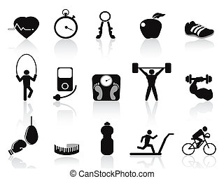 svart, fitness, ikonen, sätta