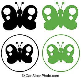 svart, fjäril, grön