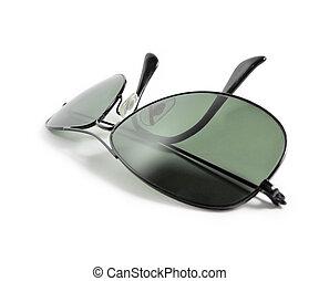 svart, flygare, solglasögon