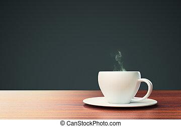 svart fond, med, kaffe kopp, och, plats, för, din, text