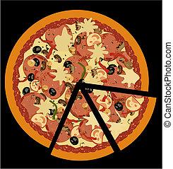 svart fond, pizza, realistisk, illustration