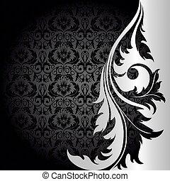 svart fond, silver