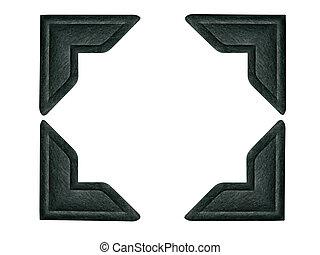 svart, foto, hörnen