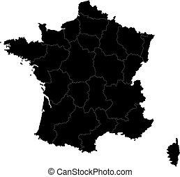 svart, frankrike, karta