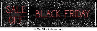 svart, fredag, försäljning, av, horisontal, affisch, bakgrund, grunge, måla, stänka ner, rabatt, baner, design