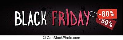 svart, fredag, försäljning, horisontal, baner, över, grunge, bakgrund, inköp, rabatt, affisch, begrepp