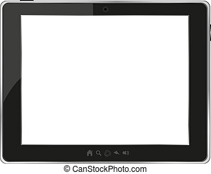 svart, generisk, skrivblock persondator, vita, bakgrund