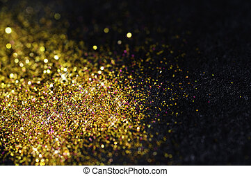 svart, glitter, guld, bakgrund