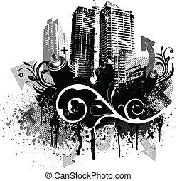svart, grunge, stad