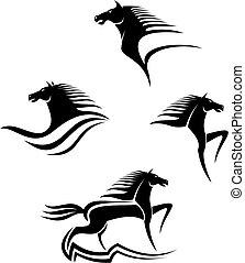 svart, hästar, symboler