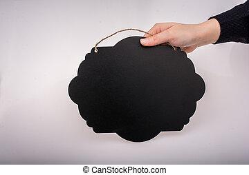svart, hand, märka, format, bord, tal porla