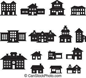 svart, hus, sätta, vit, 2