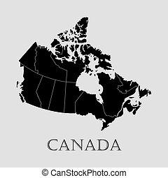 svart, kanada karta, -, vektor, illustration