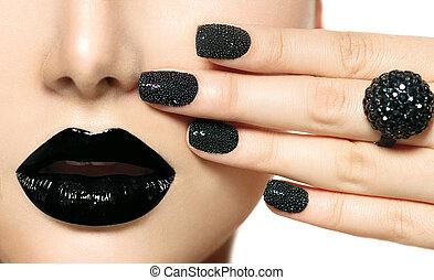 svart kaviar, manikyr, och, svart, lips., mode, smink