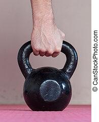 svart, kettlebell, ina, gymnastiksal