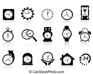 svart, klocka, ikon, sätta
