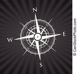 svart, kompass, bakgrund