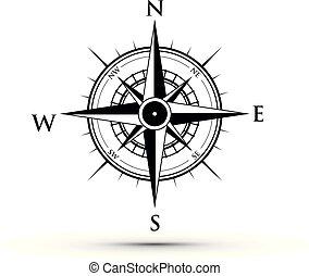 svart, kompass