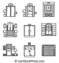 svart, kontur, vektor, ikonen, för, dörr