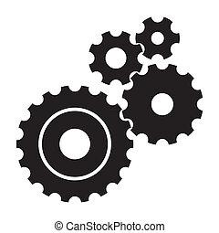 svart, kuggar, (gears), vita, bakgrund