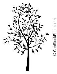 svart, lövad träd, silhouette.
