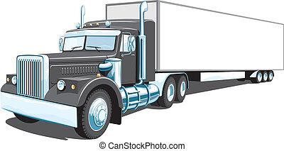 svart, lastbil, halv-