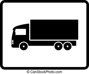 svart, lastbil, skeppning