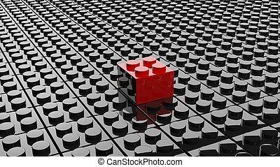 svart, lego, bakgrund, med, en, röd, kvarter, stå