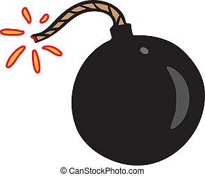 svart, litet, bomb, gnista
