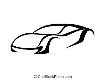 svart, logo, av, bil
