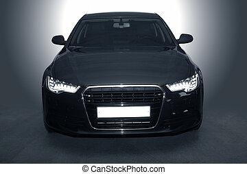 svart, mäktig, sportbil
