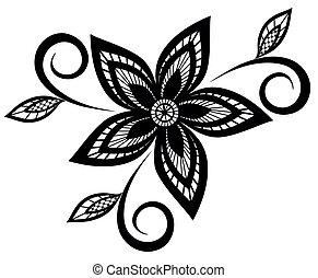 svart, mönster, vit, blommig
