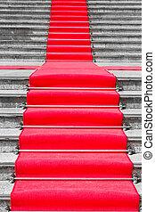 svart, matta, vit röd, trappa, väg
