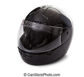 svart, motorcykel hjälm