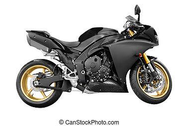 svart, motorcykel