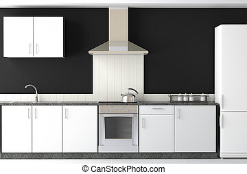 svart, nymodig, design, kök, inre