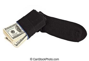 svart, oss, socka, knippe, gömd, dollars