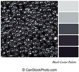 svart, palett, kaviar