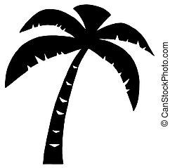svart, palm, tre, silhuett